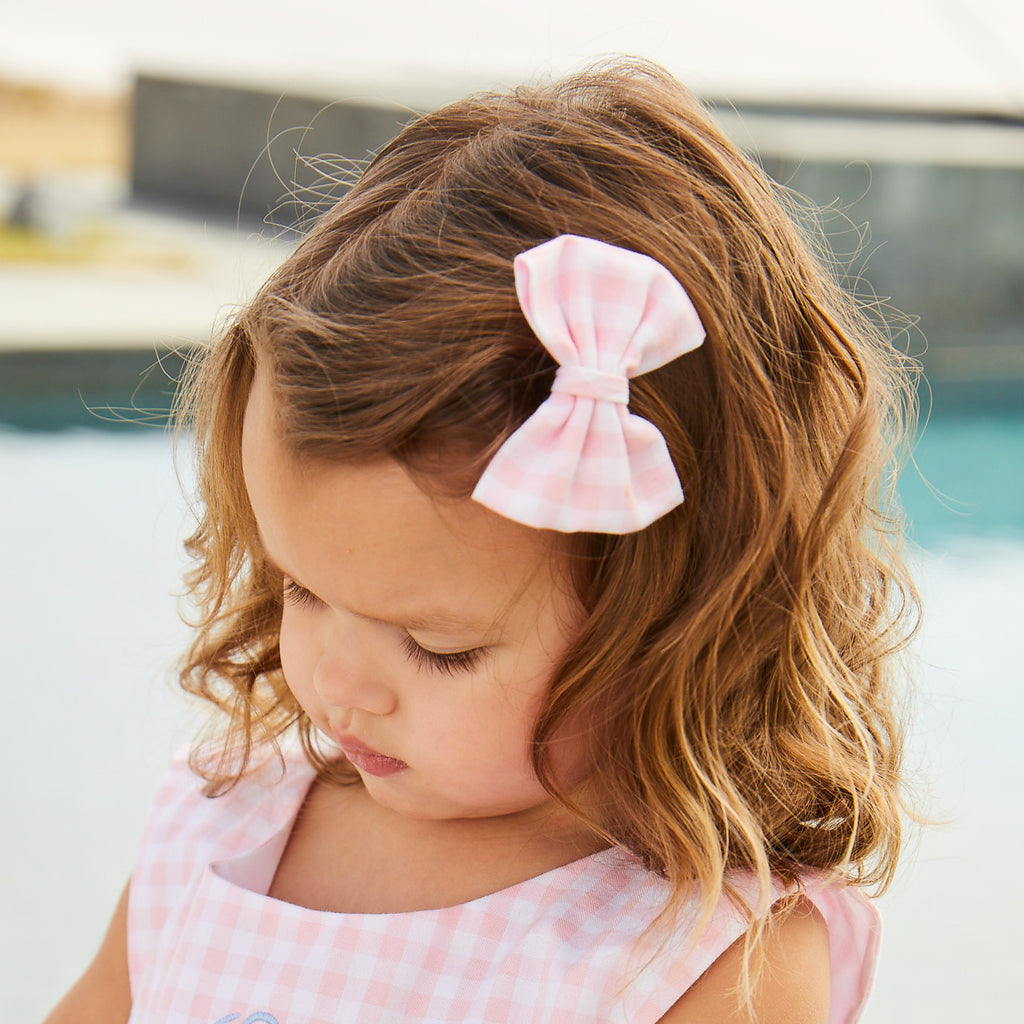 Holly Hair Bow-Pink Lemonade Gingham