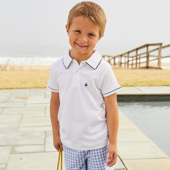 Set Sail Pima Polo with Navy Trim