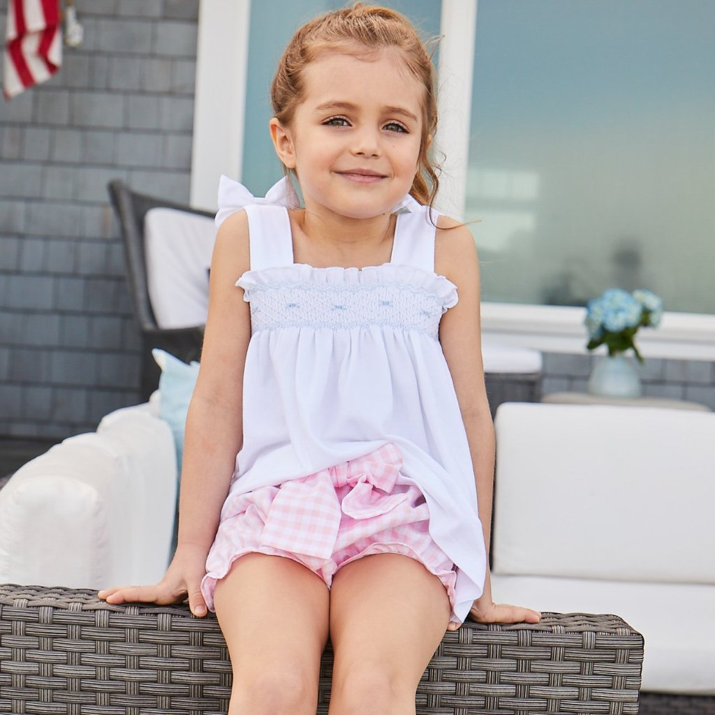 Bow Bloomer Shorts-Pink Lemonade Gingham