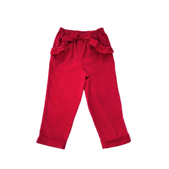 Pretty Prep Pants-Royal Red Corduroy