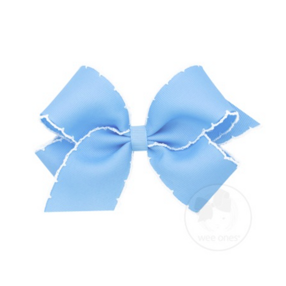 Wee Ones Medium Moonstitch Bow-Light Blue
