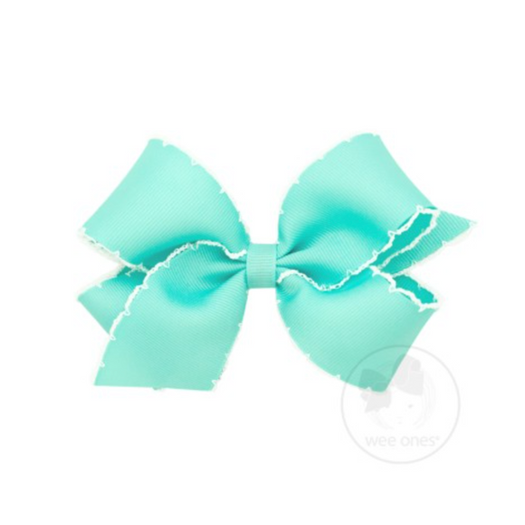 Wee Ones Medium Moonstitch Bow-Aqua