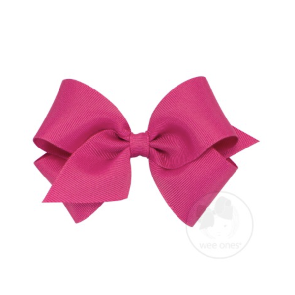 Wee Ones Tiny Classic Grosgrain Hair Bow-Shocking Pink