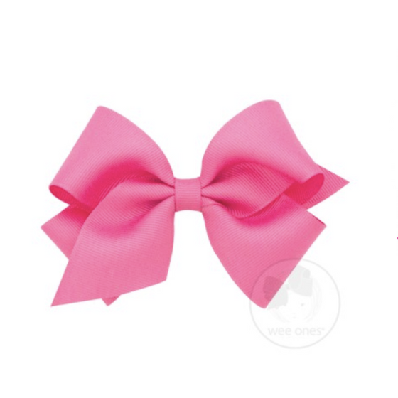Wee Ones Tiny Classic Grosgrain Hair Bow-Hot Pink