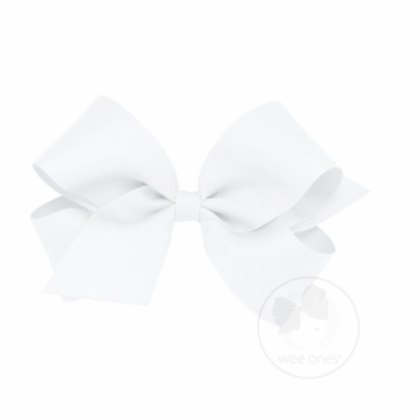 Wee Ones Medium Classic Grosgrain Hair Bow-Classic White