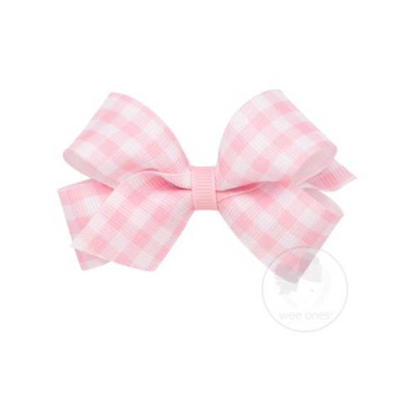 Wee Ones Small Grosgrain Bow-Pink Gingham