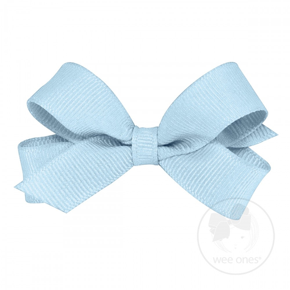 Wee Ones Tiny Classic Grosgrain Hair Bow-Light Blue