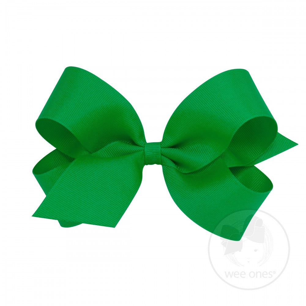 Small Classic Grosgrain Hair Bow-Greenwich Green