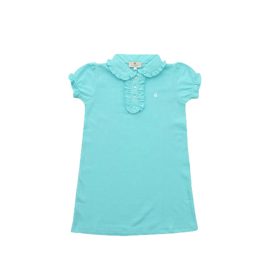 Ruffled Pique Polo Dress-Aqua