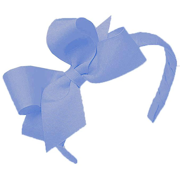 Wee Ones Medium Classic Grosgrain Bow on Headband-Hydrangea