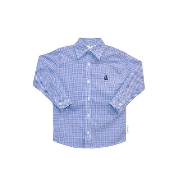 Boy's Button Down Shirt-Royal Blue Microcheck