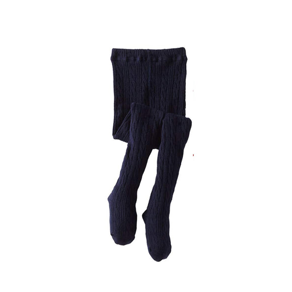 Classic Cable Knit Tights-Nautical Navy