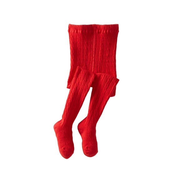 Classic Cable Knit Tights-Royal Red