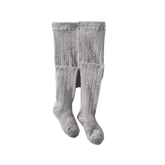 Classic Cable Knit Tights-Grey Heather