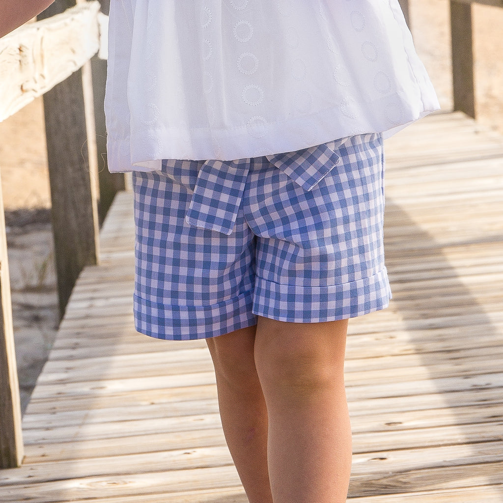 Peyton Play Shorts-Hydrangea Gingham