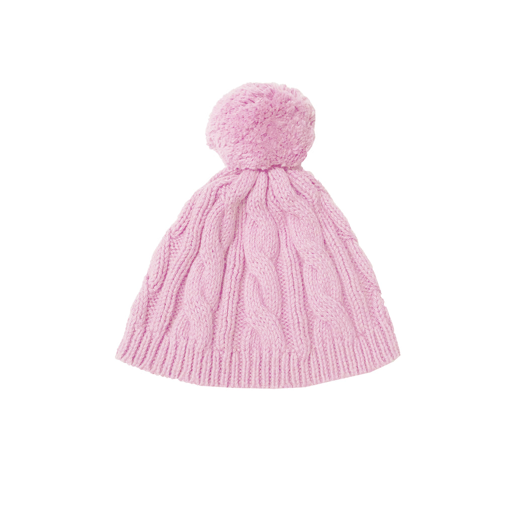 Cable Knit Pom Pom Hat-Pink Peony