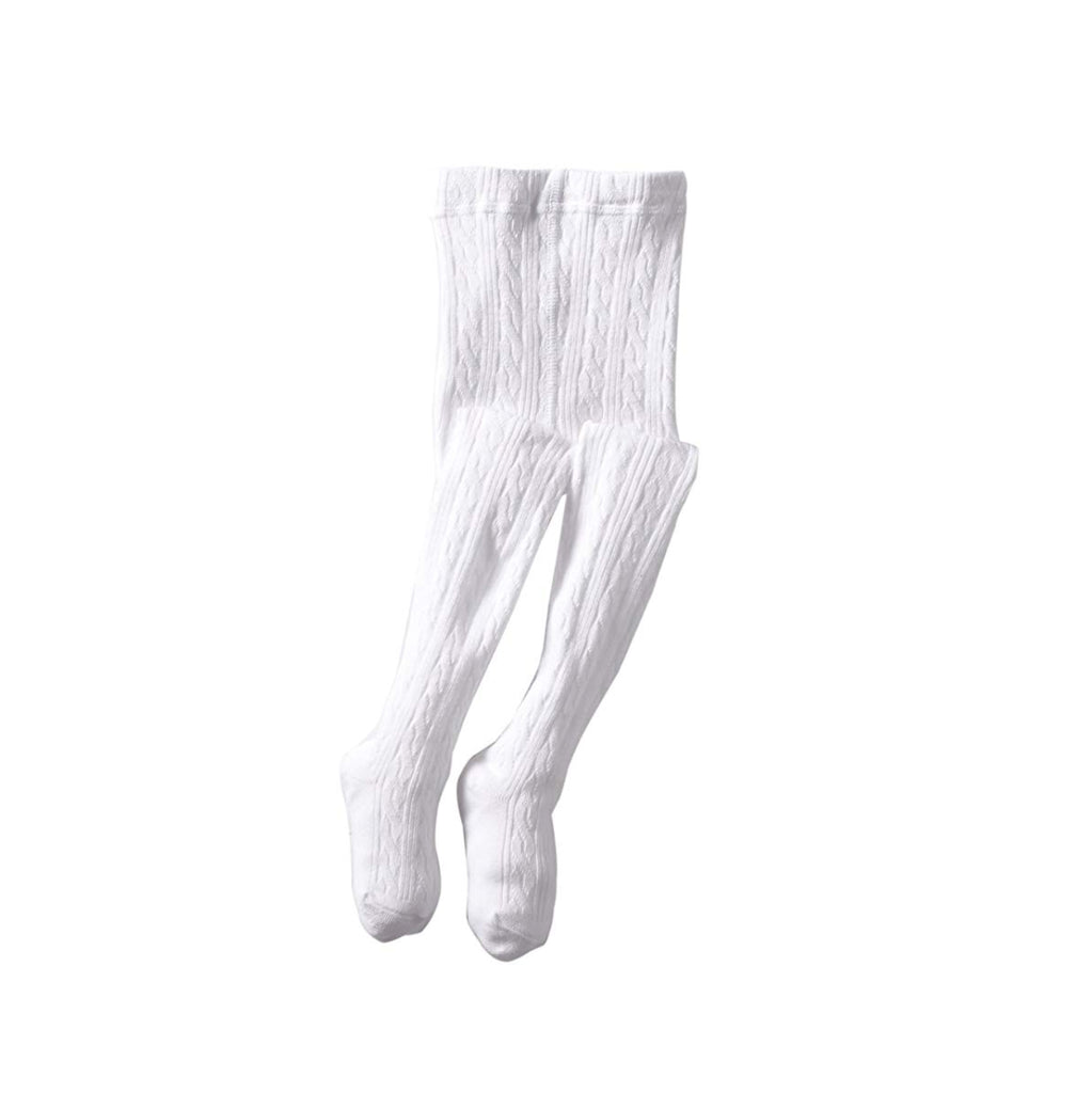 Classic Cable Knit Tights-Classic White
