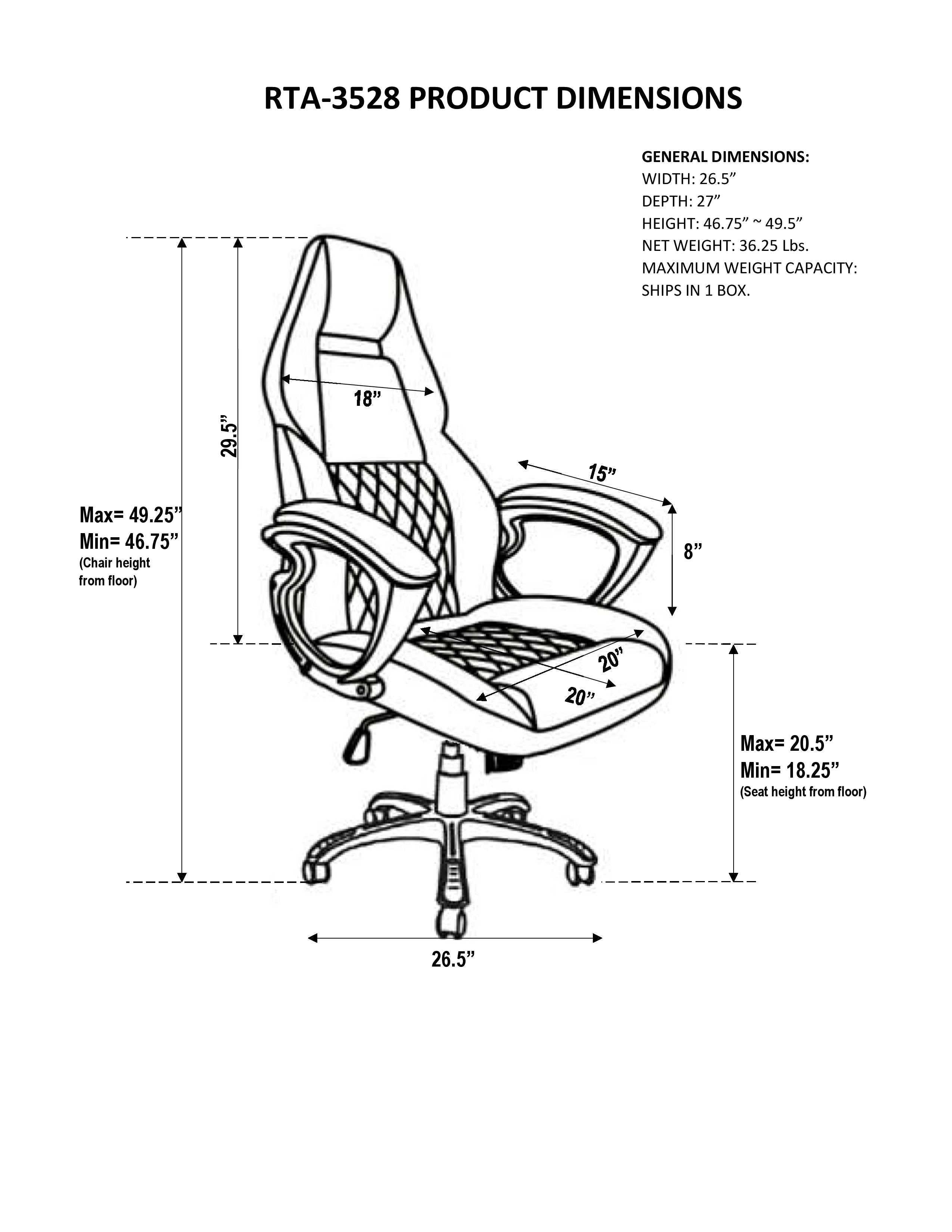 Techni Mobili High Back Executive Sport Race Office Chair