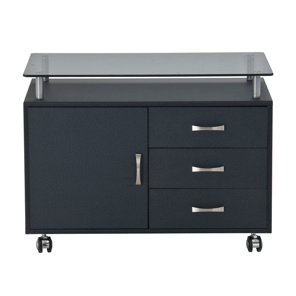 Rolling Storage Cabinet With Frosted Glass Top Techni Mobili