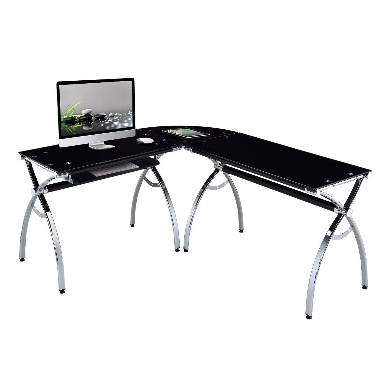 Techni Mobili L Shaped Colored Tempered Glass Top Corner Desk