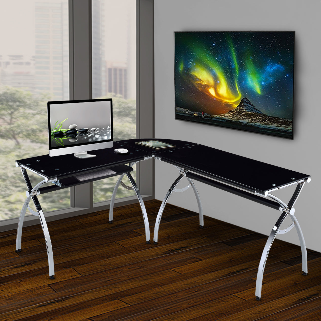 L Shaped Colored Tempered Glass Top Corner Desk With Pull Out Keyboard Tray