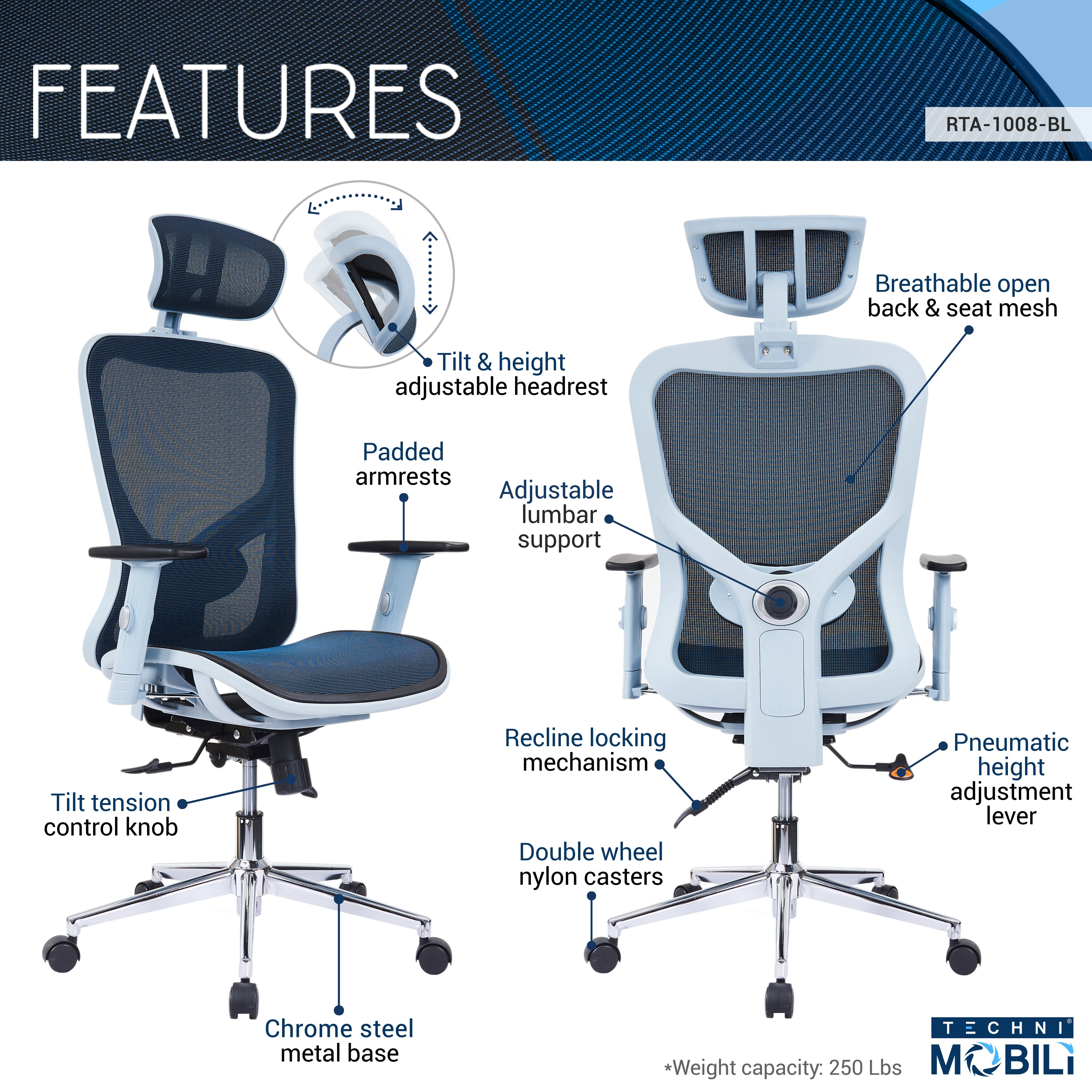 High Back Executive Mesh Office Chair With Arms Headrest And Lumbar Support