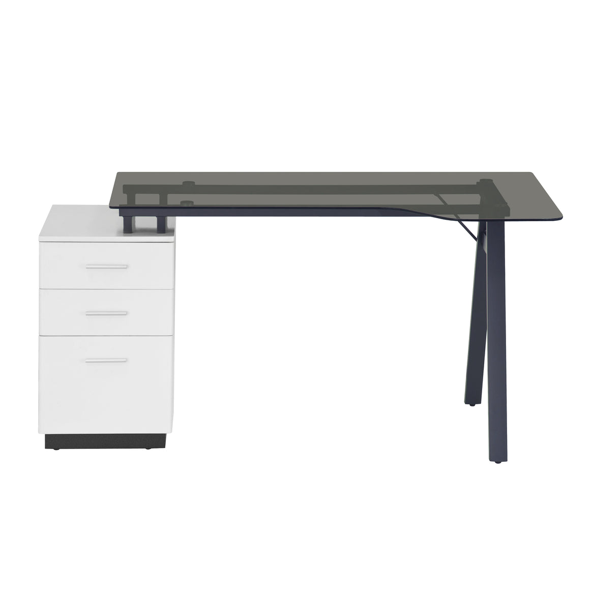 Modern Home Office Computer Desk with Smoke Tempered Glass Top & Storage