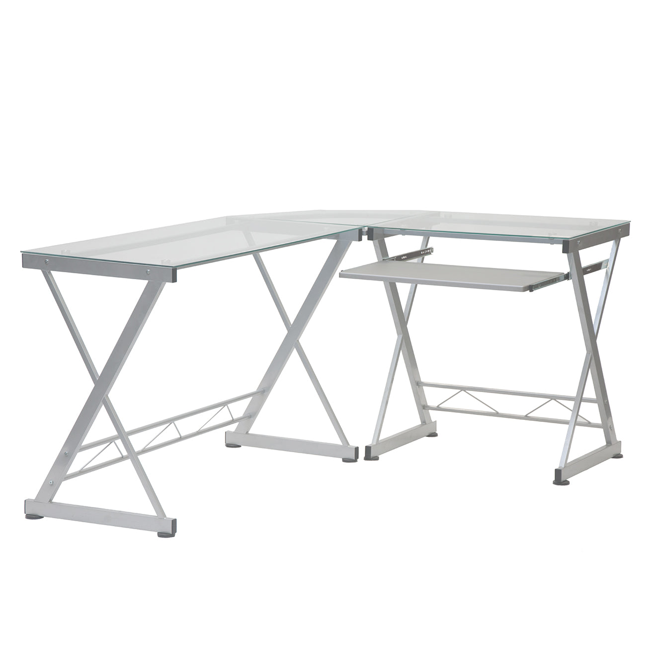L Shaped Tempered Glass Top Computer Desk With Pull Out Keyboard Panel