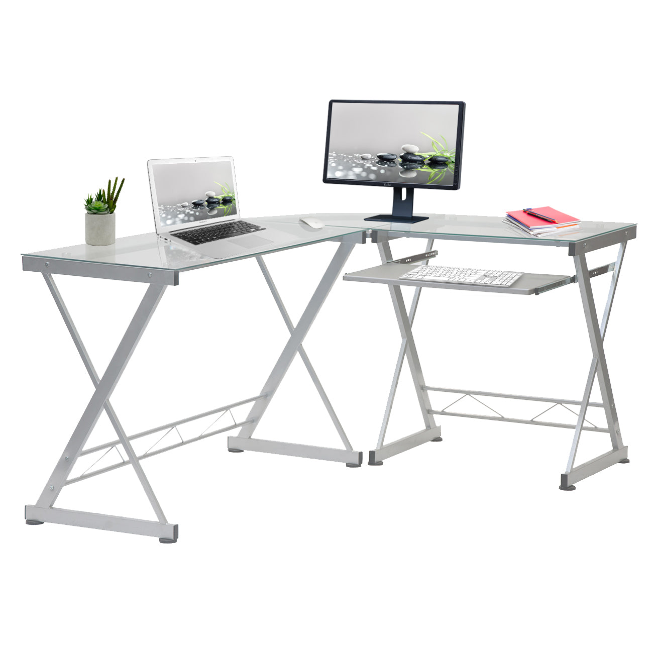 L-Shaped Tempered Glass Top Computer Desk With Pull Out Keyboard Panel