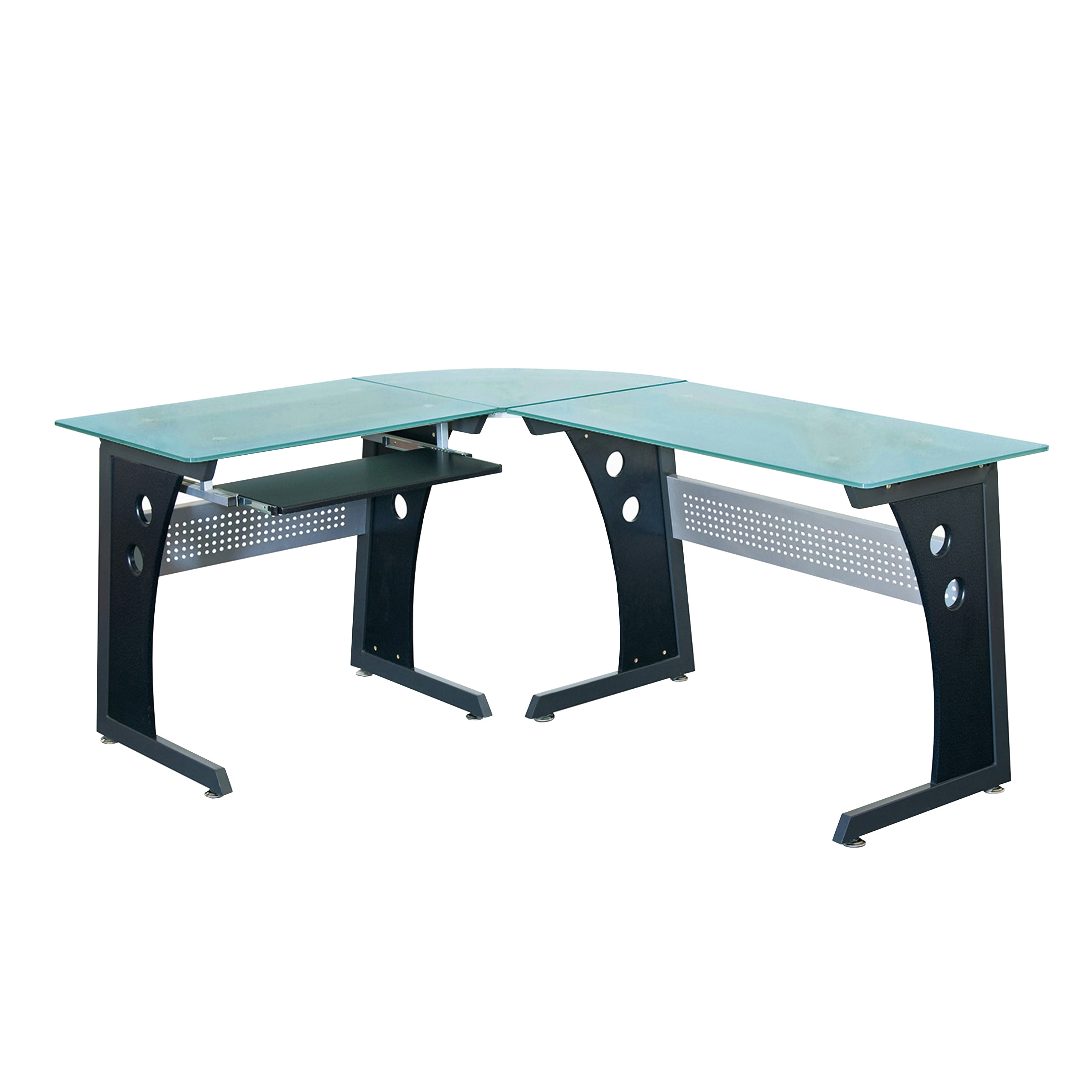 Techni Mobili Deluxe L Shaped Tempered Frosted Glass Top Computer Desk With Pull Out