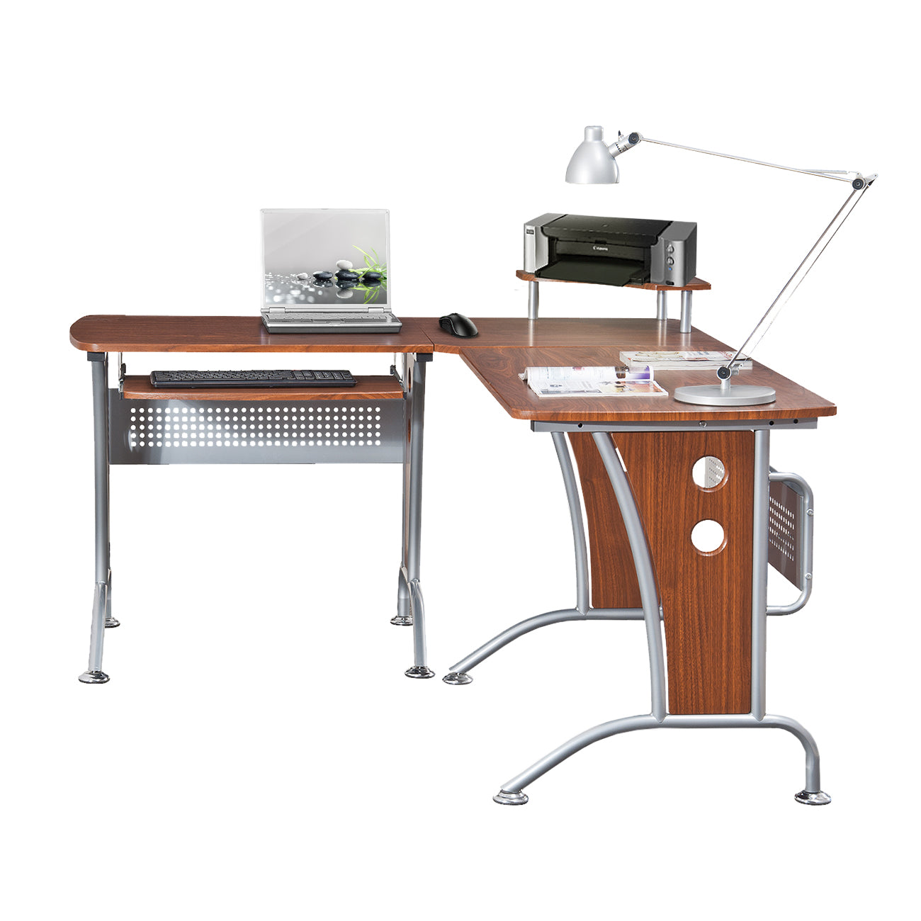 Techni Mobili Deluxe L Shaped Computer Desk With Pull Out