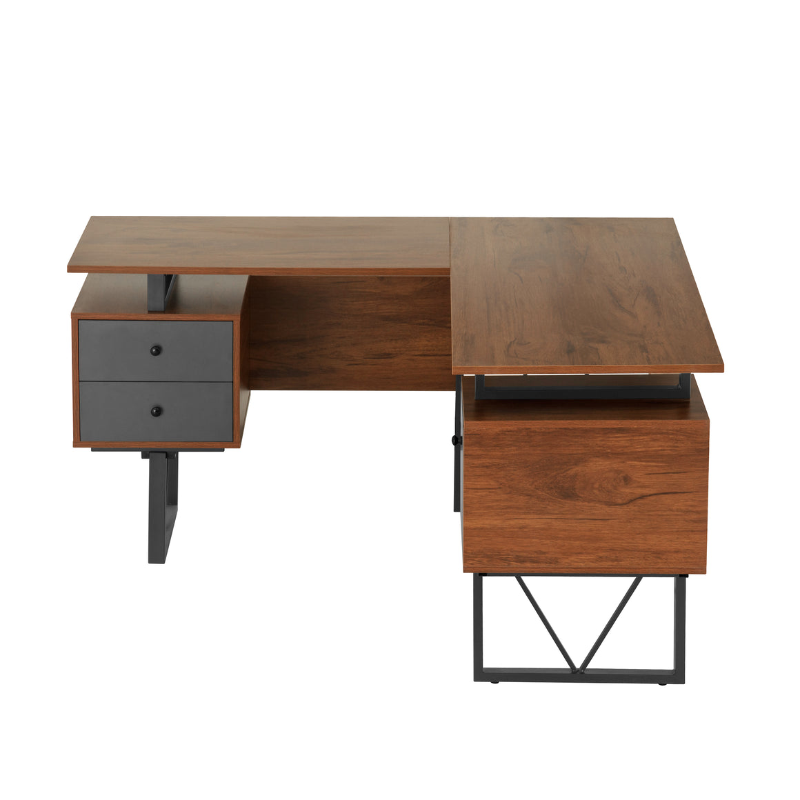 Reversible L-Shape Computer Desk with Drawers and File Cabinet