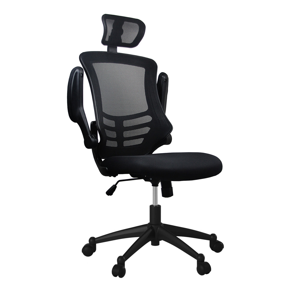 Modern High-Back Mesh Executive Office Chair With Headrest And Flip Up Arms
