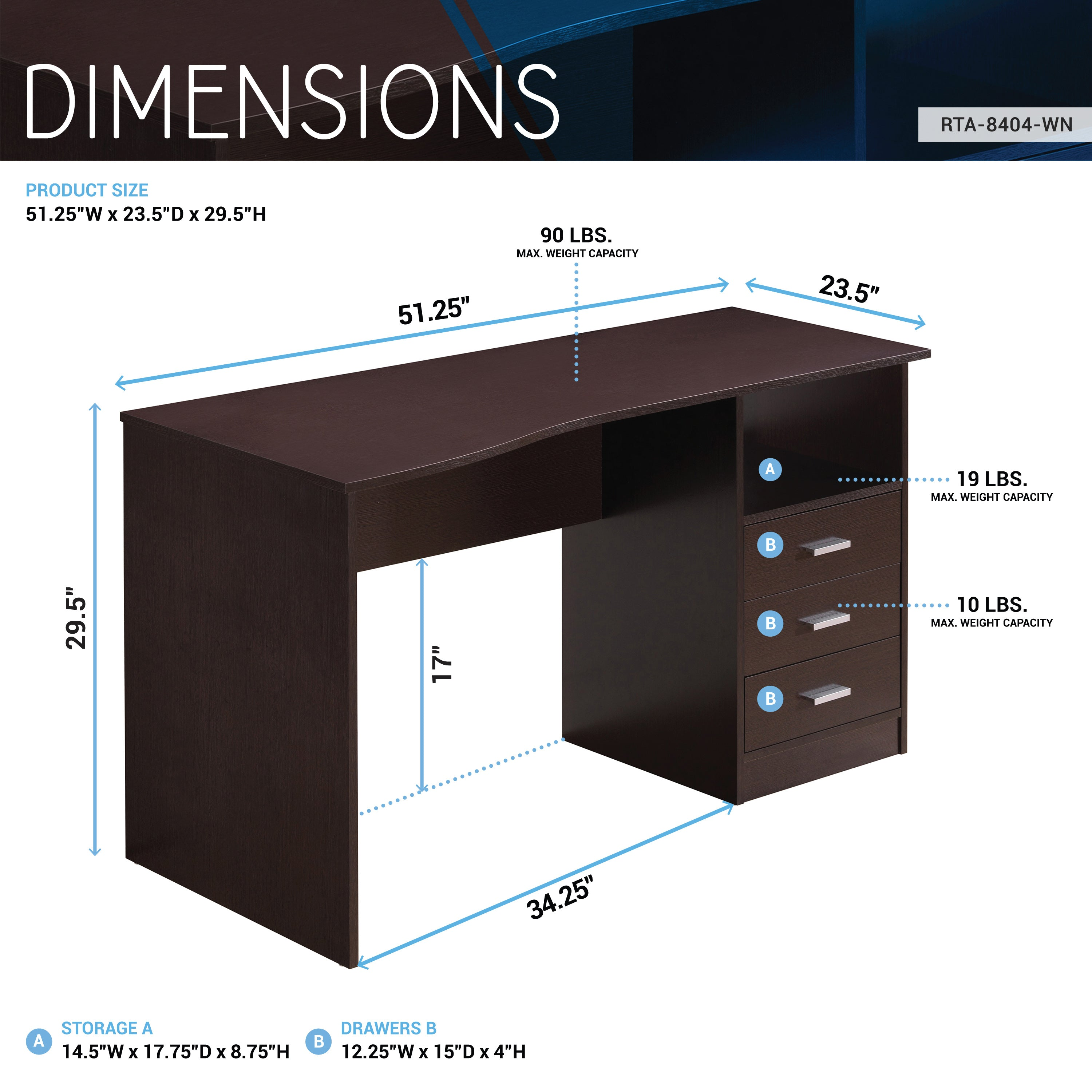Picture of: Techni Mobili Classic Computer Desk With Multiple Drawers