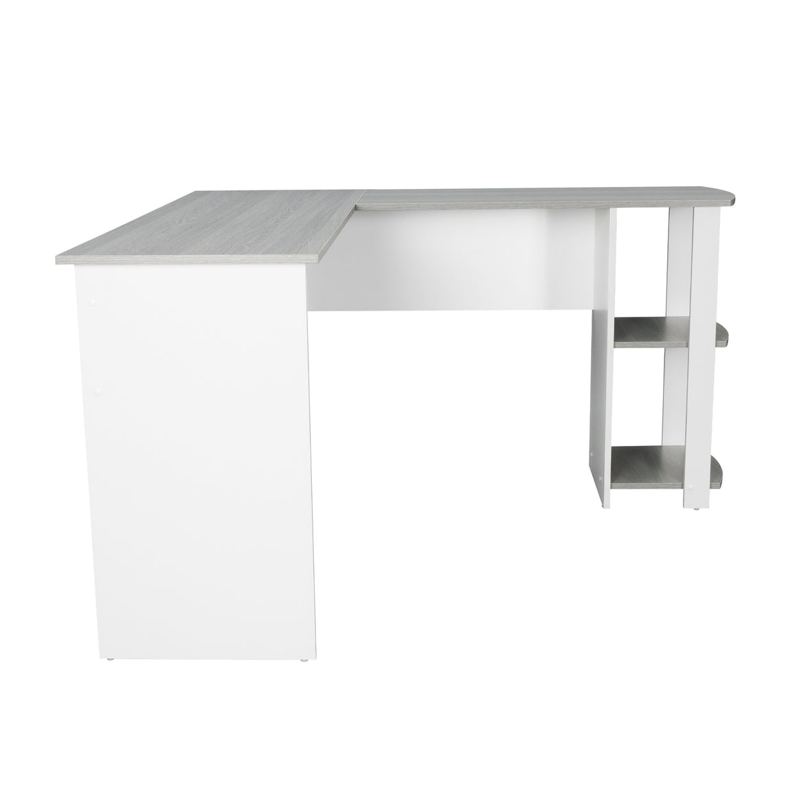 Modern L-Shaped Desk with Side Shelves