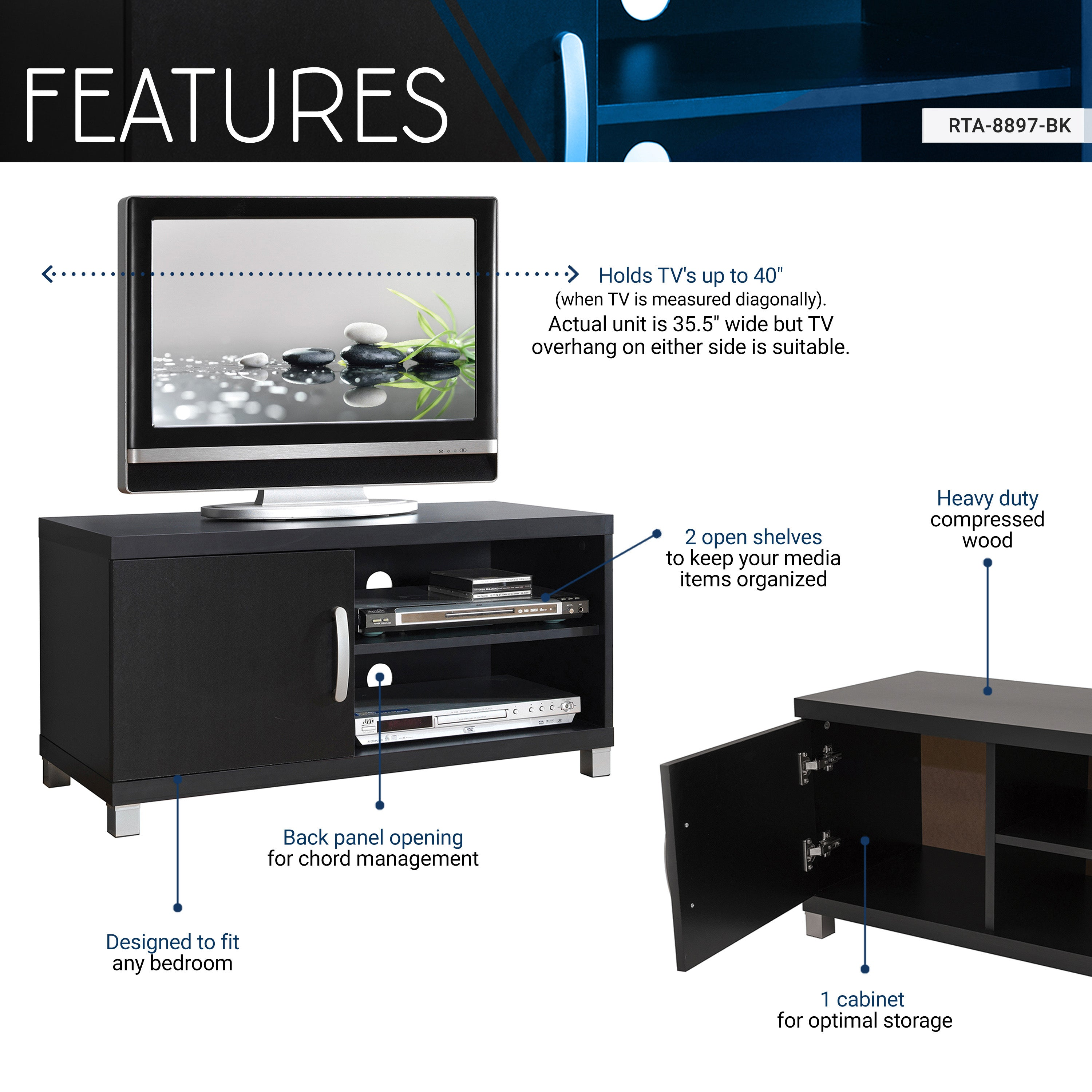 watch d8d90 1ba54 Modern TV Stand with Storage For TVs Up To 40