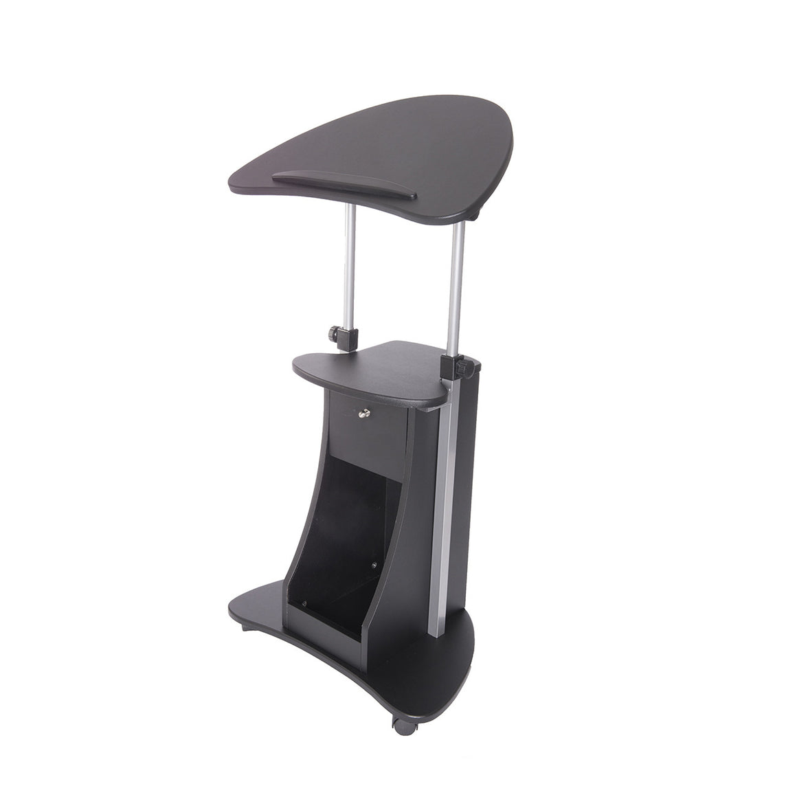 Sit-to-Stand Rolling Adjustable Laptop Cart With Storage