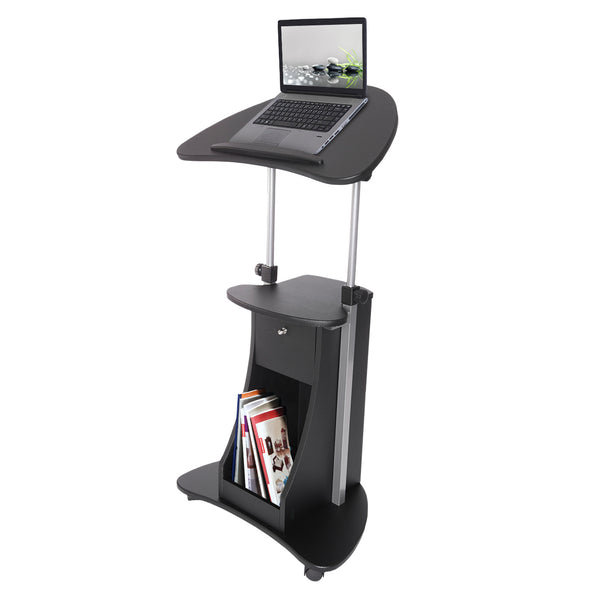 Sit To Stand Rolling Adjustable Laptop Cart With Storage