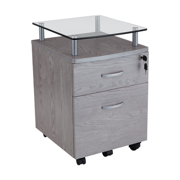Rolling File Cabinet With Glass Top Techni Mobili