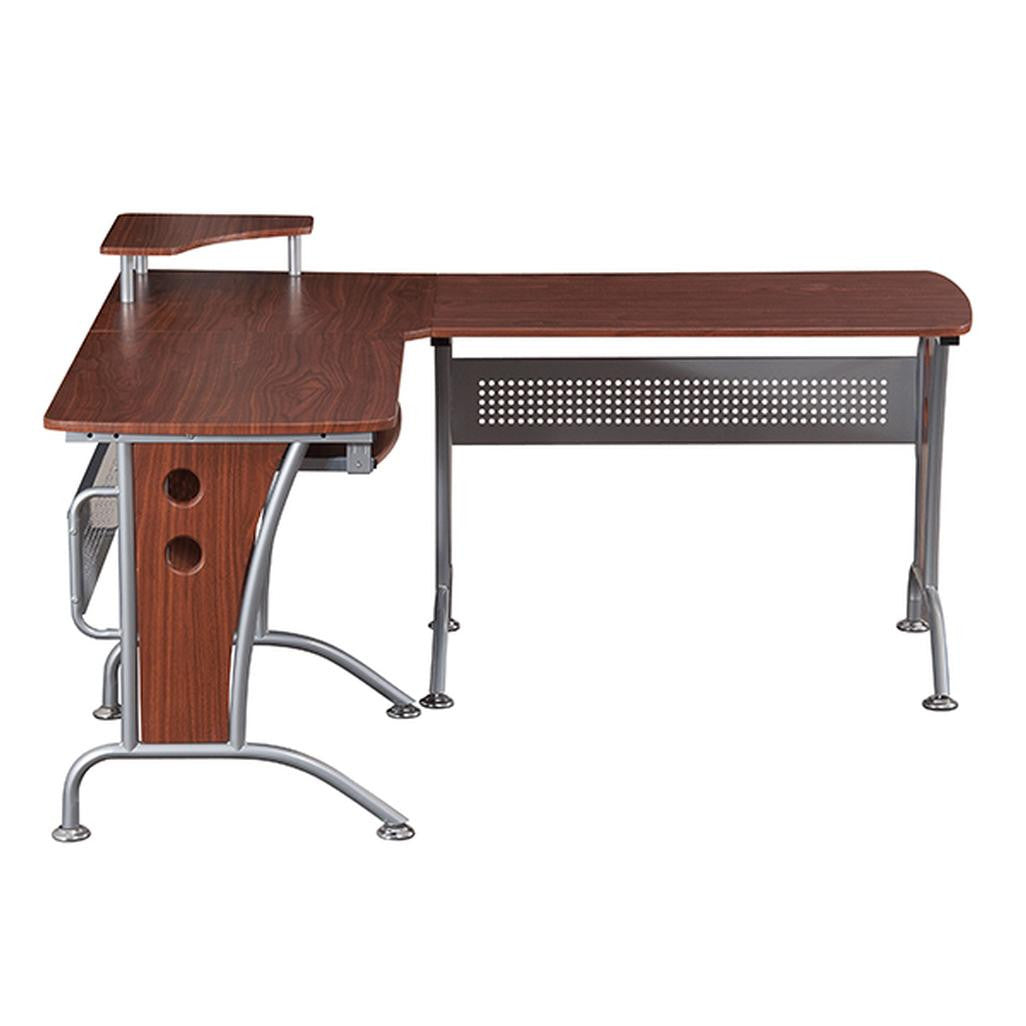 Beau Deluxe L Shaped Top Computer Desk With Pull Out Keyboard Panel
