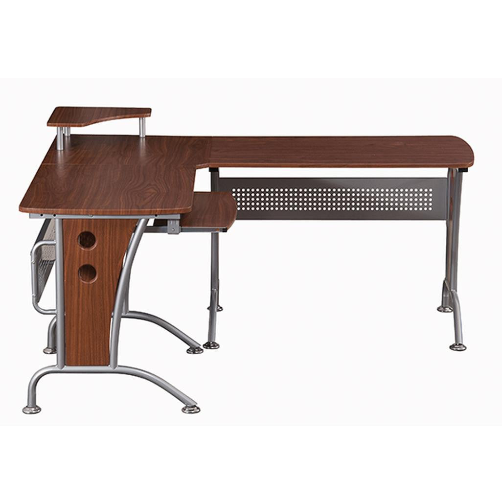 Deluxe L-Shaped Tempered Frosted Glass Top Computer Desk With Pull Out Keyboard Panel