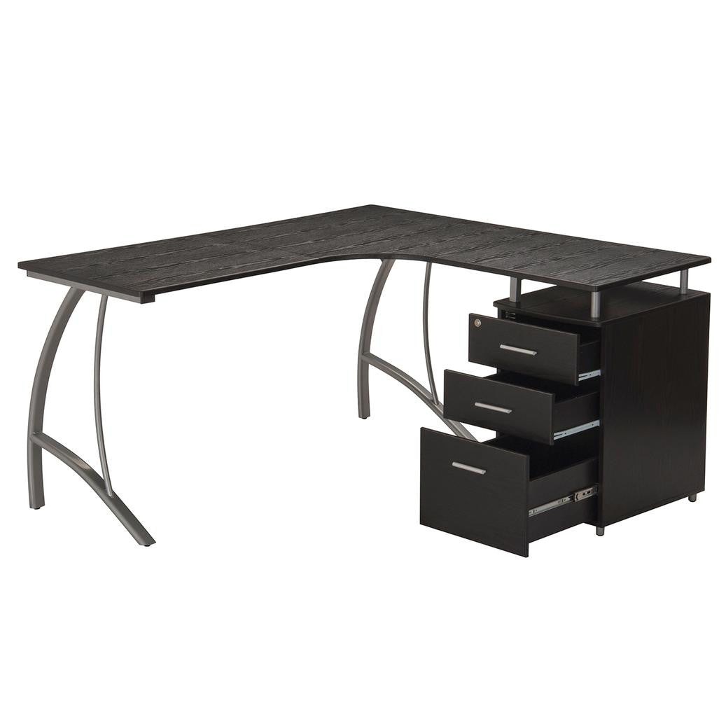 Modern L- Shaped Computer Desk with File Cabinet and Storage