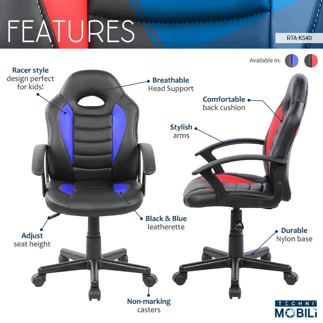 Picture of: Techni Mobili Kid S Gaming And Student Racer Chair With Wheels