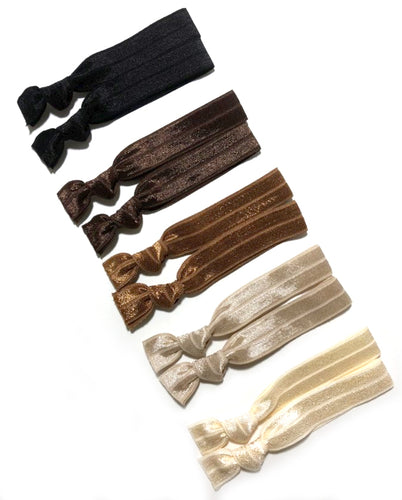 10 Elastic Ponytail Holders | Neutral Hair Tie Set