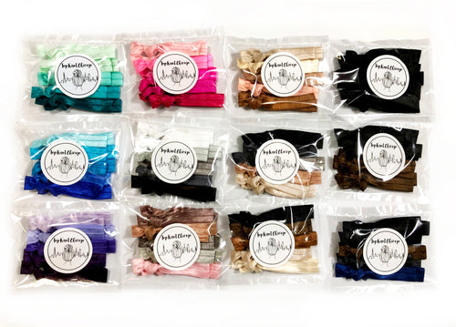 10 Pack of Elastic Hair Ties | Choose from our Ombre and Neutral Ponytail Holder Sets