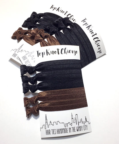 Black and Brown Package - Set of 5 Hair Ties - Hair Ties - Top Knot Chicago