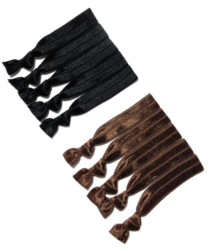 Set of 10 Black and Brown Hair Ties | Ponytail Elastic Holders