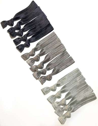 Gray Ombre 15 Pack of Ponytail Holders | Charcoal Ombre Hair Ties