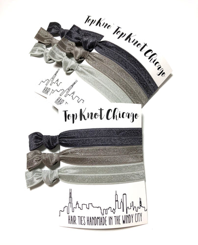 Charcoal Ombre Elastic Hair Ties | Set of 3 Ponytail Holders