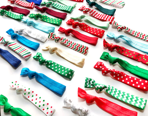 Shop Small Holiday Sale | Christmas Hair Tie Grab Bag | Mix of 5, 10,15 or 20 Holiday Elastic Ponytail Holders